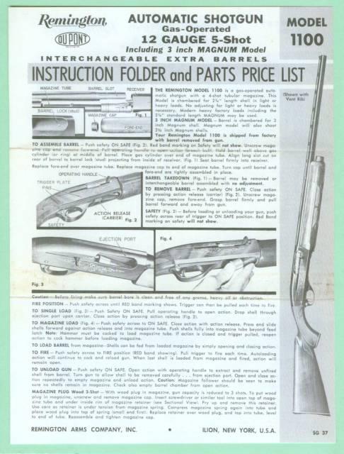 remington model 1100 manual reproduction for sale at gunauction com rh gunauction com remington 1100 manuel remington 1100 repair manual