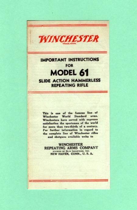 Winchester Model 75 Owners Manual